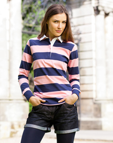 Ladies striped rugby shirt c a embroidery and print for Pink and purple striped rugby shirt
