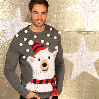 3D Polar bear knitted jumper with pom poms